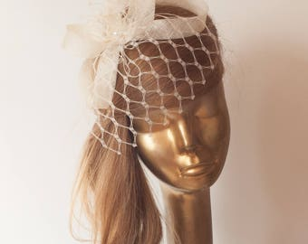 BIRDCAGE Veil Ivory FASCINATOR. Ivory Sinamay Bridal Fascinator with Veil