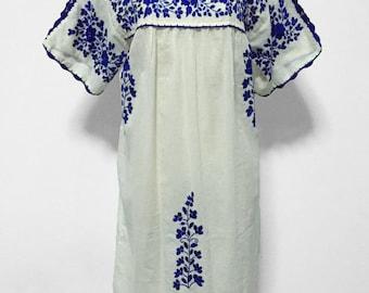 Mexican Embroidered Dress Cotton Tunic Split Sleeve Dress, Boho Dress, Peasant Dress, Oaxacan Dress