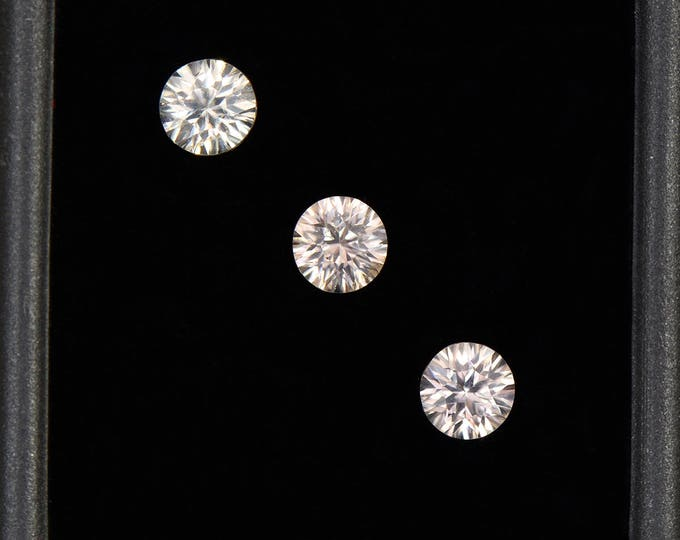 UPRISING SALE! Beautiful Silvery Champagne Zircon Gemstone Set, Concave Round Cut, 2.40 tcw., 5 mm.