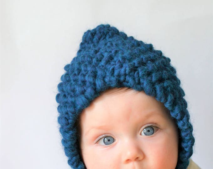 Curasao Blue Chunky Knit Baby Bonnet | Knitted Baby Bonnet | Baby Bonnet | Blue Wool Baby Bonnet