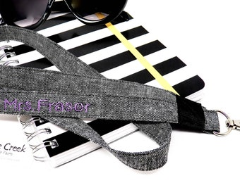 Personalized name lanyard, exclusive design keeps your badge holder laying flat, Charcoal linen, customizable machine embroidery