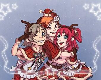 Love Live Sunshine - School Idol Festival 'CYaRon' Christmas Digital Fan Art Print