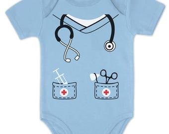 Infant Doctor, Physician, Nurse Costume Halloween Cute Baby Bodysuit