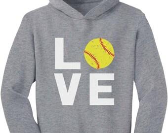 Love Softball - Gift for Softball Fans Cute Toddler Hoodie