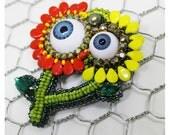 Evil eye jewelry, floral brooch, beaded brooch, eye pin, crazy gift, fantasy brooch, artisan beadwork, Embroidered brooch, Alien pin