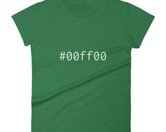 Green #00ff00 Women's short sleeve t-shirt Graphic Design Code Shirt