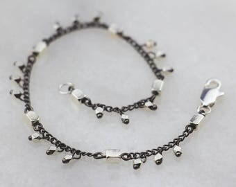 Gunmetal Chain Bracelet with Silver Bead Accents