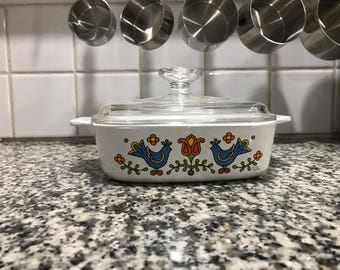 Corning Ware Country Festival Baking Dish* Square 1 Quart Casserole with Lid * Pyrex Friendship Compatible * Bluebirds