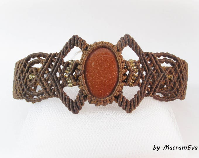 Goldstone healing stone macrame bracelet