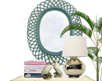 "Mid Century Bamboo Mirror Rattan Albini Style Bent Bamboo Mirror Oval Mirror Coastal Beach Decor Bohemian Decor Vintage Bamboo Mirror 31"""