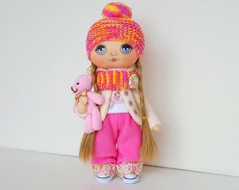 Betty Doll Handmade Doll Fabric Doll Textile Doll Handmade Doll Home Decoration Doll Interior Doll Decor Doll Handmade Toy Doll with bear