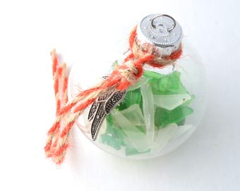 "Rhode Island Green and White Sea Glass Filled 2"" Clear Ball Christmas Ornament with Red and Tan Jute with Silver Angel Wing Charm"