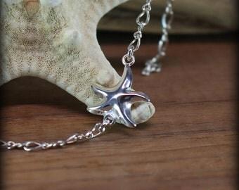 Sterling silver anklet, starfish anklet, starfish bracelet, beach wear, high heel jewelry, sandal jewelry