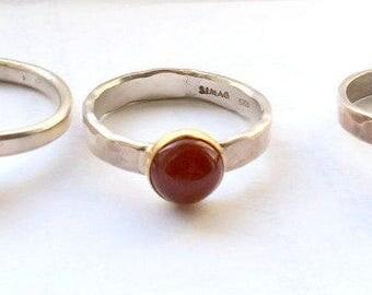 Orange Carnelian Ring, Stackable Sterling Silver Carnelian ring, Carnelian Stack Ring, Carnelian Jewelry, Birthstone Ring, Natural Carnelian