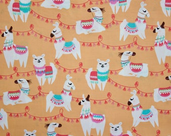 "Tassels Lama Poplin Fabric. Last piece - 57cm (22.5""). Cute Lamas on Mandarin Orange."