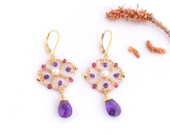 Ethnic Unique Dangle Earrings, Amethyst,Garnet, Pearls Earrings, Geometry Jewelry Chandelier Earrings, Lavender Jewelry, 14K Gold Filled