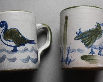 Louisville Stoneware Mugs with Ducks and Cattails, Circa 1970s, from Louisville, Kentuckty