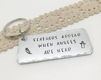 Memorial gift Feathers appear when angels are near memorial keyring loss and bereavement, condolence gift, in loving memory, sympathy gift