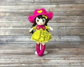 "Yellow cowgirl doll and Fuchsia 15 "", cotton, hair of minky with skirt, boots and chaeau, gift for girl"