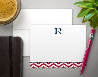 Personalized for Dad | Stationary for Men | Bespoke Stationery | CHEVRON INITIAL | Flat Notecard | Note Card Gift for Him