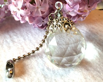 Crystal light pull, ceiling fan pull or sun catcher. Ball chain pull, lighting decor, decorative pull chains, crystal ball prism, home decor