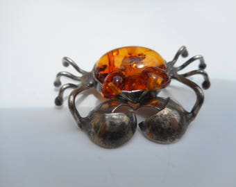 Sterling Silver and Amber Crab Brooch , Unique Crab Cancer Zodiac Sterling Amber Pin