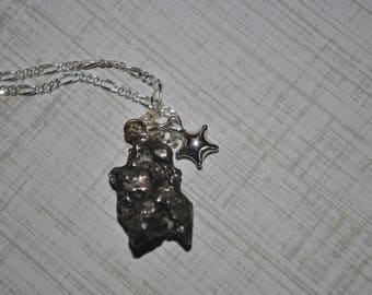 Genuine Meteorite Pendant Necklace with sterling star on Sterling Silver chain simple, boho, minimalist, geekery