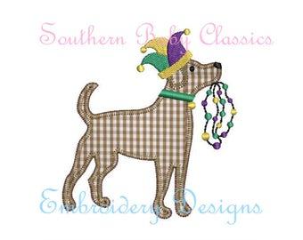 Mardi Gras Dog Beads Jester Hat Labrador Lab Dog Vintage Blanket Stitch Applique Design File for Embroidery Machine Instant Download  Boy