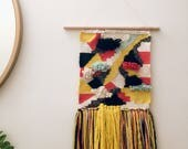 Woven wall hanging - Yellow, pink, and dark teal geometric woven wall hanging