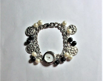Joan Rivers Watch Charm Bracelet in Silver Tone - S2418