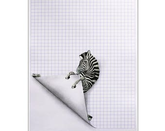 Zebra Print, Zebra drawing, zebra artwork, zebra poster, zebra painting, whymsical poster, black and white, whymsical artwork, Coco de Paris