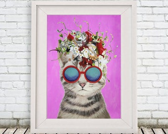 Original Cat Print, cat Illustration Art Poster Kids Decor Drawing Gift, cat with flowers, gift for cat lover, christmas gift, holiday gift