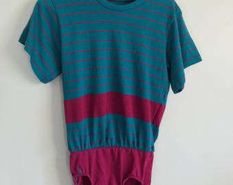 SALE pink and blue vintage striped one piece body suit