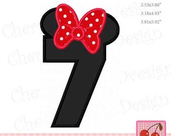 """Minnie Number 7 Birthday Machine Embroidery Applique Design - 4x4 5x5 6x6"""""""