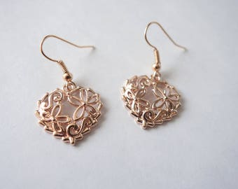 Rose Gold, Cage Heart Earrings, Floral Detailing, Filigree, Flower Hearts, Light Rose Gold Plated