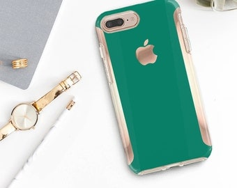 Cool Green iPhone Case and Rose Gold Hard Case Otterbox Symmetry   / iPhone 7 / iPhone 8 /  - Platinum Edition  iPhone X / Galaxy S9 / LG G6