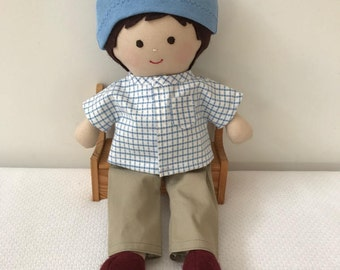 """Boy doll, with wardrobe, cloth doll, handmade, fabric doll, soft doll, rag doll, dressup doll, child friendly, gift for boy, rag doll, 14"""","""