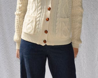 Vintage Fisherman Sweater | Ivory Cable Knit Wool Sweater. 80s Wool Fishermans Cardigan Sweater. Boho Hippie Sweater. 70s Wool Cardigan | m