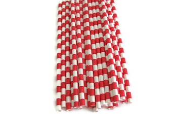 Red Stripe Paper Straws 25 Count | Red Sailor Stripe Paper Straws | Red Horizontal Stripe Paper Straws | Red Striped Paper Straws