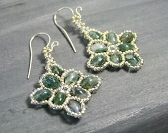 Moss Agate Jewelry Beaded Boho Earrings Natural Stone Earrings Green Earrings Handmade Gift Unique Earrings Sterling Silver Woven Earrings