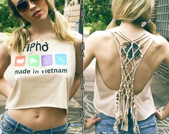 Pho Tan Lattice back fringe Tshirt tee top Recycled Upcycled cut shredded sexy open hippie Bohemian Eco Boho chic festival shirt backless