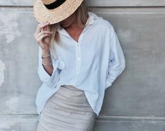Short Linen Skirt, The Belize Skirt - Natural Linen A-Line Skirt, Women's High Waisted Mini Skirt