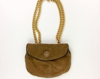 Vintage 70s Brown SUEDE Italian Leather Small Purse w/ Chain Strap Tally-Ho