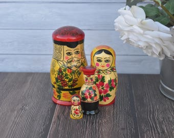 Vintage Russian Nesting Dolls Family of 4 Matryoshka, Old Soviet Nesting Dolls Hand Painted Wooden Stacking Dolls