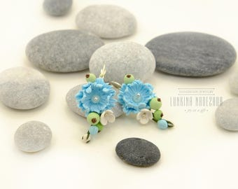 Light blue green polymer clay flower earrings with handmade chrysanthemum and wildberries fresh gift idea for her