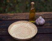 stoneware garlic grating / olive oil dipping dish