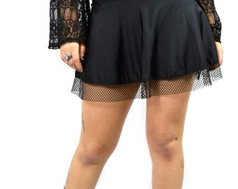 Black Cyber Heart Rave Circle Skirt with Mesh