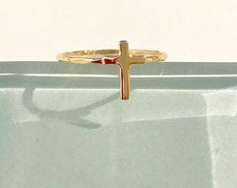 10k cross ring, 14k cross ring, 10k gold cross ring, 14k gold cross ring, Faith jewelry, solid gold cross ring, 14k stackable ring