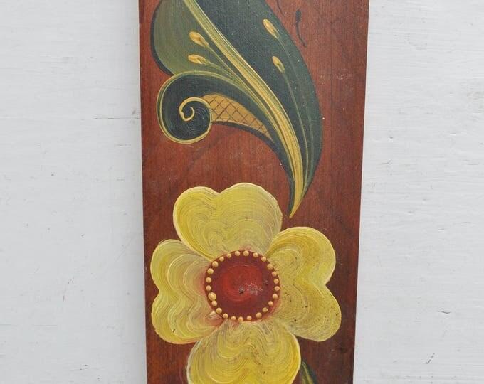 Norwegian Telemark Rosemaling Carved Wood Wall Candle Holder Vintage