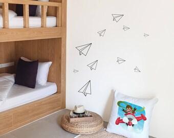 Wall sticker paper planes - 12 airplanes vinyl sticker - Child room decoration - theme aviation - Art wall room child